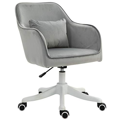 Vinsetto Velvet-Feel Tub Office Chair w/Massage Pillow Wheels Adjustable Height Ergonomic Padding Luxe Home Style Seat Grey