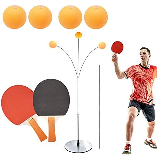 Yueser Entrenador de Tenis de Mesa Altura Ajustable Table Tennis Trainer con 2 Eje Blando Elástico 2 Raquetas y 4 Balones de Práctica para Auto Entrenamiento Deportes de Descompresión Adultos
