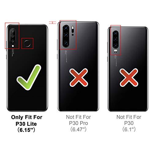 HOOMIL Handyhülle für Huawei P30 Lite Hülle, Premium Leder Flip Schutzhülle für Huawei P30 Lite Tasche, Schwarz - 3