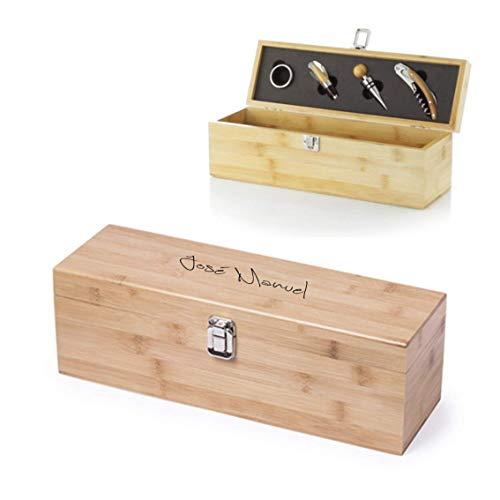 Caja para Botella de Vino con accesorios incluidos. Personalizada con el Texto Que tú Quieras