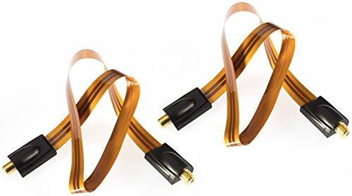Poppstar 2X 52cm SAT Fensterdurchführung (0,2 mm Fensterdurchführung SAT Kabel sehr flach), Kupplung (F-Stecker), vergoldete Kontakte, orange