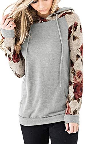 Nekosi Bequem Sanft Kapuzenpullover Tops Für Damen Blumen Sweatshirt Hemden Langarm Kordelzug Hoodie mit Tasche Grau X-Groß