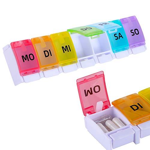 Livola - Tablettenbox 7 Tage - Pillendose 7 Tage - Regenbogen- Medikamentenbox 7 Tage - leicht zu öffnen Deutsch