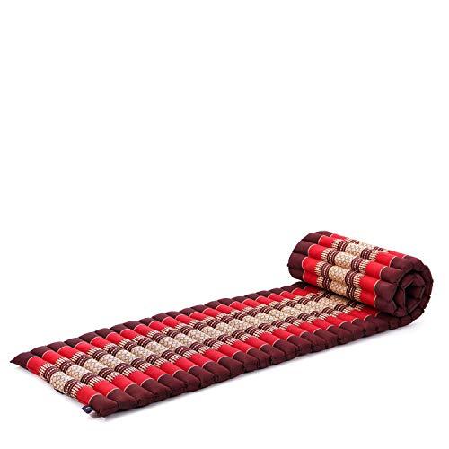 Leewadee colchoneta tailandesa Enrollable S – Futón para Dormir, colchón para masajes Grueso, Alfombrilla de kapok ecológico, 200 x 50 cm, Rojo