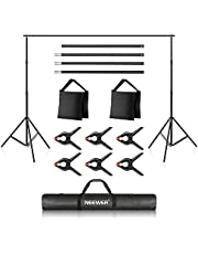 Neewer Photo Studio 10ft/3m Wide Cross Bar 6.6ft/2m High Adjustable Background Support System with 3 Backdrop Clamps,2 Sand Bags and Carry Case for Portrait Product Video Photography