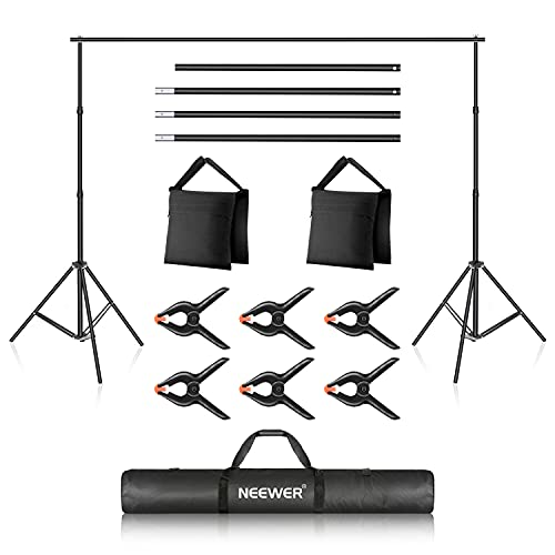 Neewer Photo Studio Backdrop Support System, 10ft 3m Wide 7ft 2.1m High Adjustable Background Stand with 4 Crossbars, 6 Backdrop Clamps, 2 Sandbags, and Carrying Bag for Portrait & Studio Photography