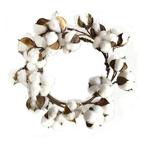 BDJH Christmas Decorations Christmas Wreath Dried Cotton Flower Simulation Cotton Wreath Christmas Wreath Door Twice Day Artificial Cotton Wreath Decoration