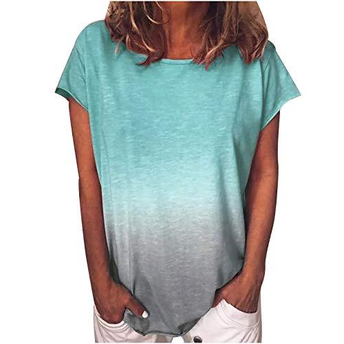 Tie Dye T-Shirt Damen Sommer Oberteile Blumen Drucken Kurzarm Tee Tops Casual Shirt Hemd Bluse V-Ausschnitte Loose Oversize Shirt Tshirt Female Teenager Mädchen