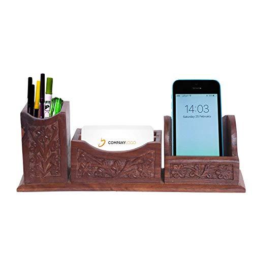 Willart Schreibtisch-Organizer aus Holz, handgefertigt, Stifthalter und Visitenkartenhalter, mobiler Halter mit Blatt-Arbeit