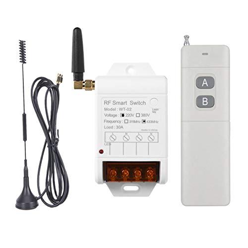 Interruptor de luz inalámbrico con mando a distancia, 220 V, módulo receptor de 1 canal + transmisor de radiofrecuencia de 500 m, para la iluminación de bombas de agua, motores, agricultura, i