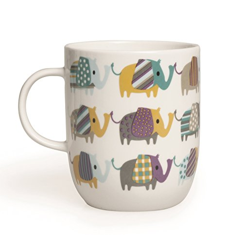 Excelsa Animals Tasse, 400ml, aus Porzellan, Farbe: Weiß Elefant 8.9x8.9x10.6 cm Weiß/bunt