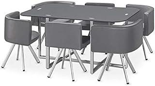 Ensemble Table de Repas avec 6 chaises Design Madrid Gris