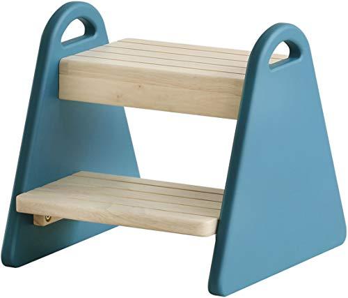 踏み台 子供 ステップチェア 2段 クラシックブルー 幅30 奥行32.5 高さ30 おしゃれ 北欧 木製 シンプル かわいい 子供用ローチェア (クラシックブルー)