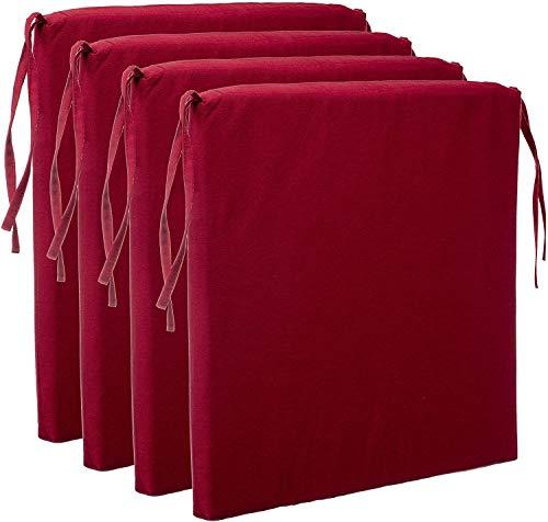 Pack de 4 Cojín para Silla, con 4 Cordones para un Agarre Seguro, Microfibra y desenfundable con Cremallera Invisible (Rojo)