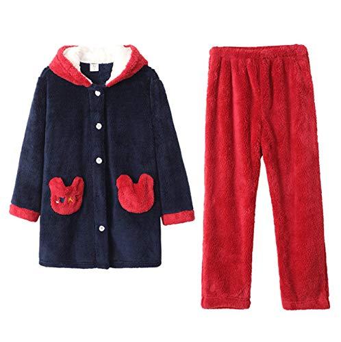 LEYUANA Pijamas de Invierno Ropa de Dormir para Mujeres de Dibujos Animados, Pijamas de Terciopelo Coralino Agregar vellón y Pijamas Gruesos Plush MA