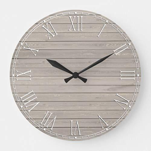 onepicebest Reloj de pared de 30 cm, diseño rústico, textura de madera grande, para salón, decoración del hogar