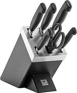 Zwilling - Bloque de cuchillos con autoafilado (7 piezas), color negro