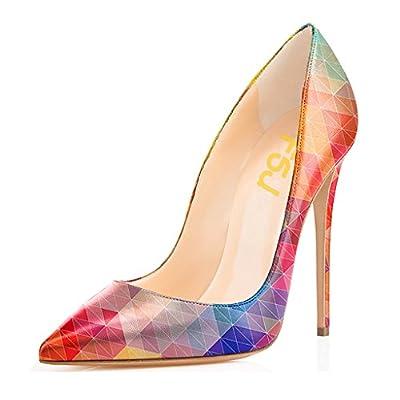 FSJ Women Fashion Pointed Toe Pumps High Heel Stilettos Sexy Slip on Dress Shoes Size 6.5 Pink-Multi