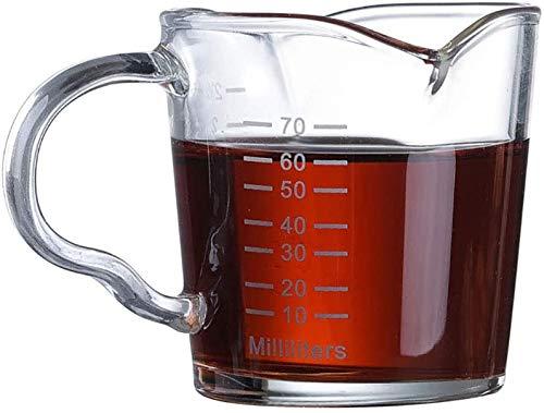 Verre Doseur Liquide Mini Tasse à Mesurer en Verre Résistant à la Chaleur Verre à Liqueur Expresso Bécher Gradué Bec Double Mug Pichet de Mesure Transparent pour Lait Café Boisson Cocktail Vin 70ML