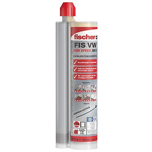 fischer 052150 Hochleistungsmörtel V HIGH Speed 360 S, 1 Kartusche 360 ml, 2 x FIS Easy Mixer
