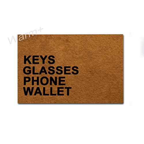 Warm+ Doormat Keys Glasses Phone Wallet Door Mat with Rubber Backing Home Decor Indoor Mats for Entry Front Floor Mats 23.6 x 15.7 Inches