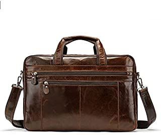 YXHM AU Men's Large Capacity First Layer Cowhide Genuine Leather Men's Handbag Single Shoulder Double Zipper Travelling Bag (Color : Brown)