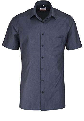 Marvelis Modern Fit Hemd Halbarm Chambray Anthrazit Größe 44