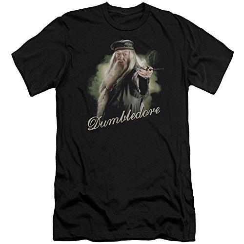 Harry Potter Herren T-Shirt Dumbledore Zauberstab Slim Fit Schwarz -  Schwarz -  Groß