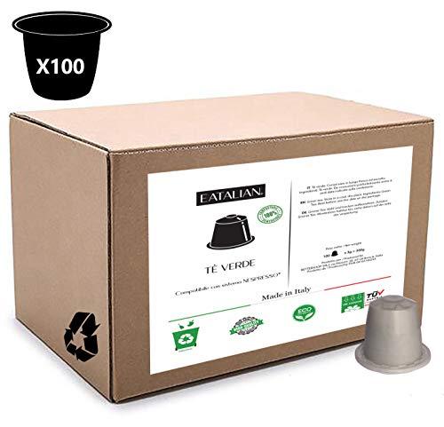 EATALIAN 100 capsules voor groene thee, compatibel met Nespresso-apparaat 100% composteerbare en ecologische peulen zonder impact op het milieu Made in Italy, wegwerpbaar als organisch afval