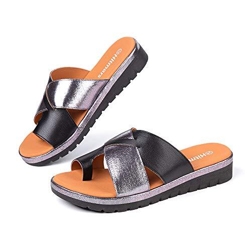 Sandalias Mujer Plataforma Verano Chanclas con Cuña Ortopedicas Zapatos de Playa 02 Negro Talla 38