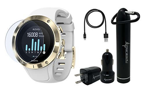 Suunto Spartan Trainer Wrist HR Multisport Lightweight GPS Watch and Wearable4U Ultimate Power Pack Bundle (Gold)