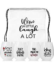 Vinglas att gå, silikonvinglas set 4 vinglas med gravering vin gåva okrossbart vin att gå glas rödvinsglas vinglas plast för resor camping, picknick... (MJ Wineglasses)