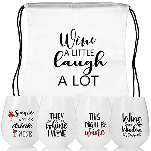 Weingläser to go,Silikon Weingläser set 4 weinglas mit gravur Wein Geschenk Unzerbrechlich wein to go gläser Rotweingläser weingläser plastik für Reisen Camping, Picknick