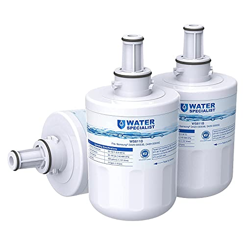 Waterspecialist DA29-00003G Refrigerator Water Filter, Replacement for Samsung DA29-00003B, RSG257AARS, RFG237AARS, HAFCU1, RS22HDHPNSR, WSS-1 (Pack of 3)
