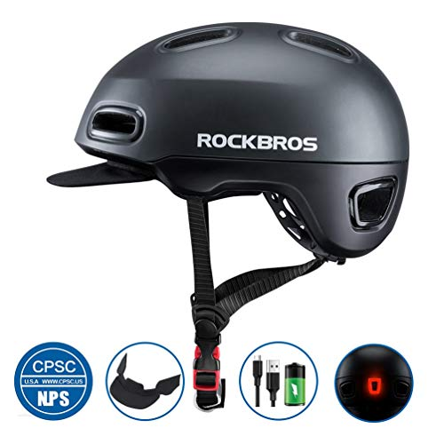 ROCK BROS Adult Bike Bicycle Helmet for Men Women Road Bike Helmet Cycling Helmet with Rear Light Urban Commuter Safety Helmet