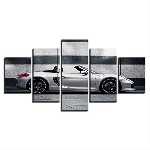 DGGDVP Canvas foto's Wooncultuur 5 stuks poorten coole auto schilderijen creatieve muurkunst gedrukt poster hotel modulaire woonkamer 40x60cmx2,40x80cmx2,40x100cmx1 Geen frame.