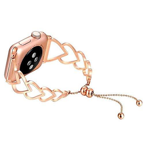 JIADUOBAO Bandas compatibles con Apple Watch Band 38 mm 40 mm 44 mm iWatch Series 5/4/3/2/1, pulsera de joyería de metal para mujer, brazalete de acero inoxidable