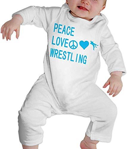 Peace Love Wrestling – Baby-Strampler mit Fuß, langärmelig, Bodysuit Gr. 86, mehrfarbig