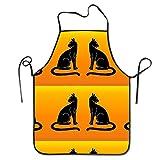 Ingridthecrafty - Delantal ajustable unisex con diseño de gatos negros en la frontera naranja