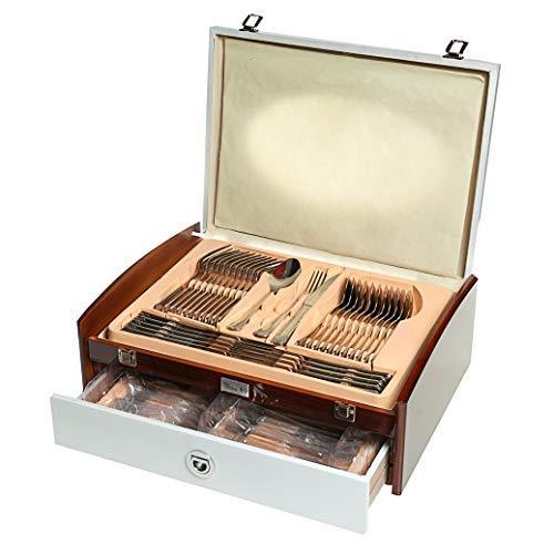 Otto Koning - Anna - Set 75 cubiertos para 12 comensales, acero inoxidable 18/10, - pulido espejo - con cuchillo especial para cortar carnes y preciosa caja de madera. Un completo juego de cubertería.