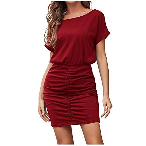 Kleid Kolylong®Damen Hohe Taille Elastische Plissee Minikleid Sexy Elegant Freizeitkleid Frauen Wickelkleider Mode Businesskleider Bodycon Kleid Businesskleider