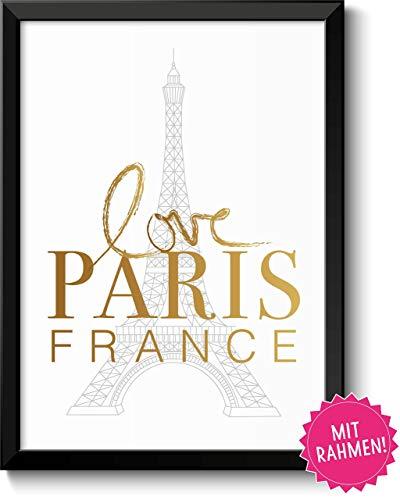 LOVE PARIS FRANCE Bild in Goldoptik im schwarzem Holz-Rahmen Geschenk Geschenkidee Paris-Liebhaber