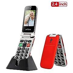 Senior mobiele telefoon, Artfone opvouwbare mobiele telefoon mobiele telefoon senior mobiele telefoon grote sleutel telefoon zonder contract met grote knoppen 2,4 inch kleurendisplay noodknop zaklamp camera GSM Dual SIM gepensioneerde mobiele telefoon (rood)*