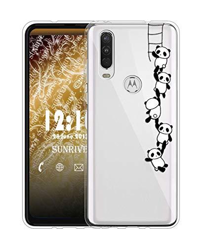 Sunrive Für Motorola One Action Hülle Silikon, Transparent Handyhülle Schutzhülle Etui Hülle für Motorola One Action(TPU Panda 1)+Gratis Universal Eingabestift MEHRWEG