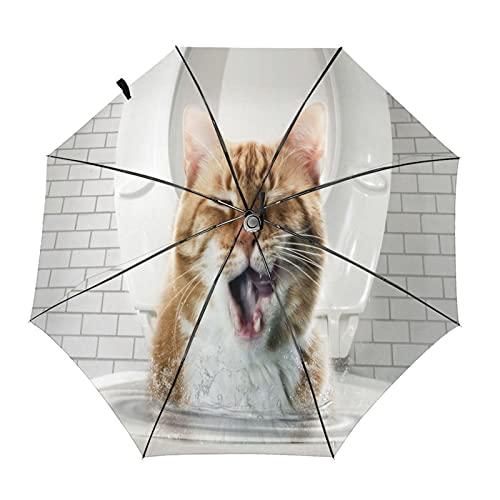 Katzentoilette lustiger Reise-Regenschirm, tragbar, kompakt, leicht, automatisches Design und hohe Windbeständigkeit