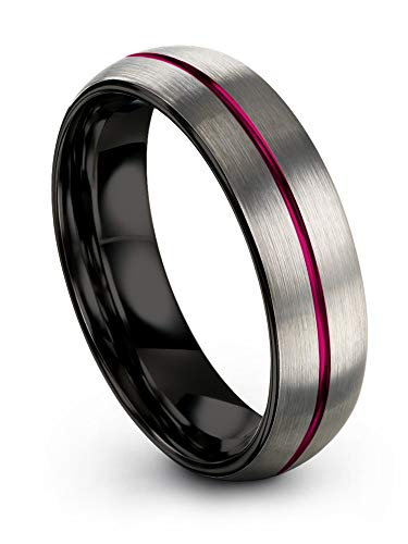 Chroma Color Collection Tungsten Carbide Wedding Band Ring 6mm for Men Women Fuchsia Center Line Black Interior with Dome Grey Exterior Brushed Polished Comfort Fit Anniversary Size 11.5