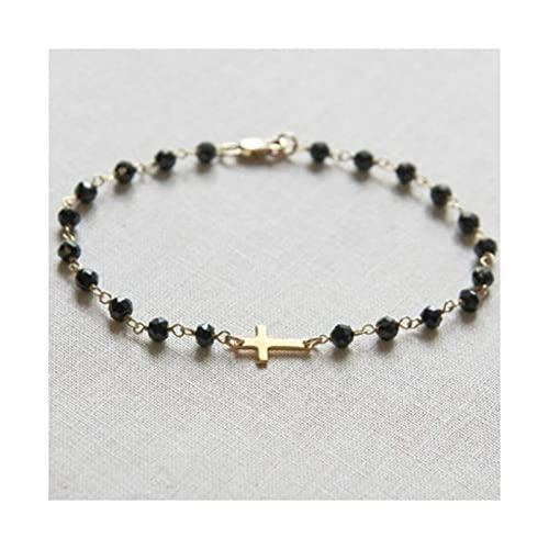 Pulsera de cruz de lado estilo rosario, ónix negro y perlas Pulseras de cadena de oro o plata para mujeres y niñas (Color: Color dorado)