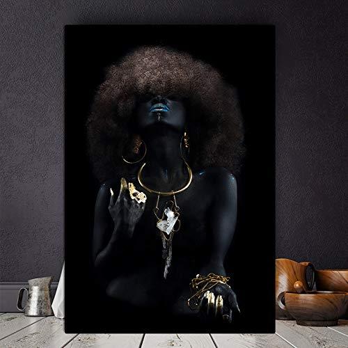 wojinbao Kein Rahmen Shaggy Haar afrikanische Schwarze Frau Goldfinger Ölgemälde Poster und Drucke Wohnzimmer