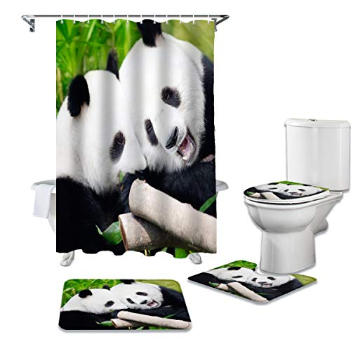 EZON-CH Funny Animal Bear Panda with Bamboo Pattern 4 Pieces Shower Curtain Sets with Non-Slip Rugs, Toilet Lid Cover, Bath Mat and Shower Curtain for Bathroom Decoration