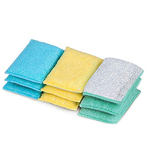 Smart Design Scrub Sponge w/ Bamboo Odorless Rayon Fiber - Ultra Absorbent - Soft & Metallic Scrub - Cleaning, Dishes, & Hard Stains - Kitchen (Heavy Duty) [Yellow, Mint, Blue] - 9-Pack